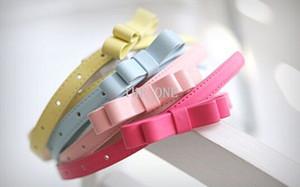 leather belt fashion belt candy color belts children pu belt girl children belt girl Double bowknot belt dress decoration belt with bow