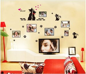 Wholesale black love cats photo frame stickers DIY Wall Decals PVC Window Decor Kids ZYPB