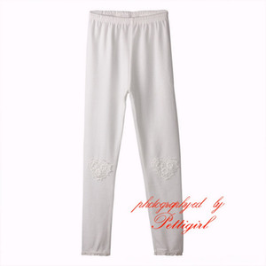 Pettigirl New Spring And Autumn Pure White Girls Trousers Heart Pattern Flower Girls Pant Wholesale Chlidren Wear PT81016-6 on Sale
