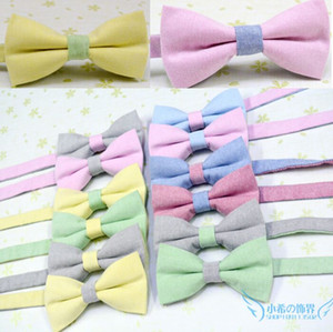Wholesale bow men resale online - Solid bowtie Cotton linen colors butterfly Men presided over the bow ties for Father s Day tie Christmas Gift Free FedEx TNT