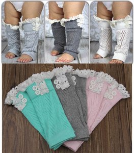 Wholesale 7 styles Cute Children Cotton Socks Toddlers Baby Leg Warmer Tube Socks with Lace and Buttons Arm Warmer Baby Leggings Leg C084