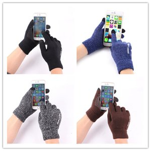 Wholesale Luxury Anti skid Capacity Touch Screen Knitted Gloves Thicken Warm Winter Driving Gloves For ipad iPhone X Samsung HUAWEI Xiaomi Tablet