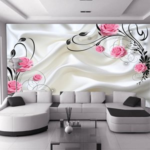 Wholesale New custom large mural 3D wallpapers bedroom living room modern fashion white red flowers roses milky TV background wall paper Wall cloth