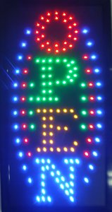 10 * 19 inch Animated Motion LED Business Vertical Open Sign +On off Switch Bright Light Neon