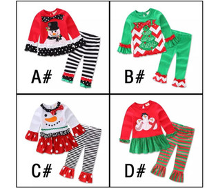 Wholesale Hot Baby Girl Children Christmas Sets Clothes White Sanda Reindeer Tree Dress Striped Ruffle Pants
