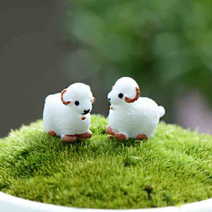 Mini Cute White Baby Sheep Lovers Plant Pot Doll Accessories Handicraft Moss Terrarium Micro Landscape Fairy Garden Desktop DIY Zakka