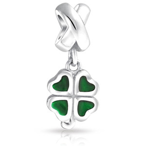 Wholesale pandora leaf clover for sale - Group buy 4 leaves clover Flower Dangle Spacer charm metal slide bead Europea fit Pandora Chamilia Biagi charm bracelet