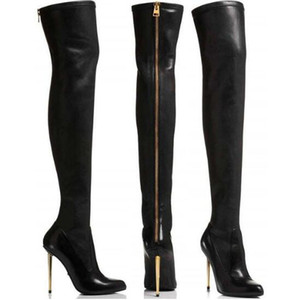 Wholesale Winter New Leather Suede Sexy Women Over the Knee Boots Metallic Thin High Heels Back Zipper Women Boots Black Botas