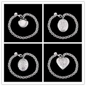 Wholesale Mixed order new design silver photo frame pendant charm bracelet fashion jewelry beautiful Christmas gift