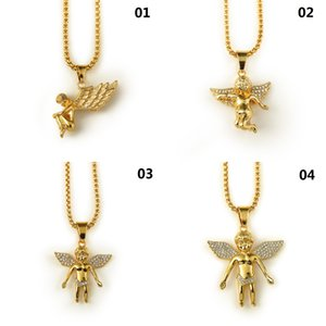 Wholesale New K Gold Plated Boy Angel Girl Angels Pendant Micro Angel Piece Necklace For Men Women Hip Hop Charm jewelry
