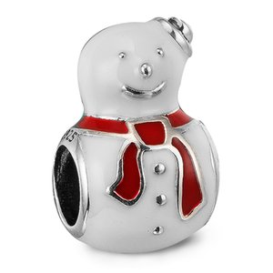 muñeco de nieve pandora al por mayor-Happy Snowman White Red Enamel Sterling Silver Beads Fit Pandora Charms Bracelet Authentic DIY Joyería de moda
