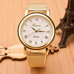 Wholesale latest ladies watches resale online - Geneva Watches Latest Personality Roman Numerals Dial Mesh Belt Ladies Watch Geneva Stainless Steel Quartz watch