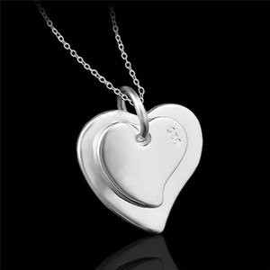 Wholesale Cheap fashion jewelry sterling silver double heart pendant necklace Valentine s Day gift for girls