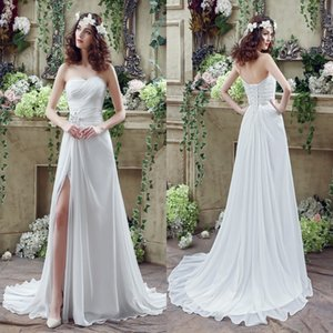 Wholesale Free Shipping Chiffon Wedding Dresses A Line Sweetheart Thigh-High Slita Lace-up Back with Crystals Beads Summer Beach Bridal Gowns CPS238