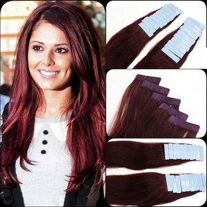 "99J# Burgundy 12""-26"" Skin Weft Hair Extension India Premium Remy Pu Tape In 20 Pcs 2.5g pc Real Natural Human Hair"