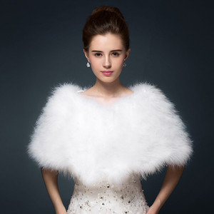 Wholesale Luxurious Ostrich Feather Bridal Shawl Fur Wraps Marriage Shrug Coat Bride Winter Wedding Party Boleros Jacket Cloak White Khaki cm
