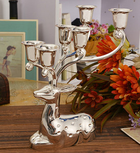 Free shipping silver finish metal reindeer shape candle holder,6-arms decorative candle stick, zinc alloy candle stand