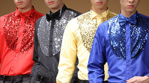 Wholesale red sequin shirts resale online - red blue yellow black sequins beading mens tuxedo shirts with matching bowknot stage performance latin dance shirts