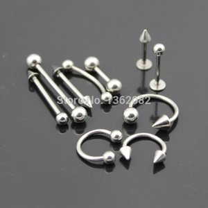 Wholesale Mixed Types L Stainless Steel Ear Stud Navel Nipple Nose Lip Tongue Rings Bar Barbell Body Piercing Jewelry ME92