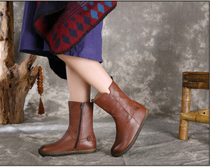 Wholesale drop shipping flats brown genuine leather women winter boots vintage quality soft rubber ankle booties size35