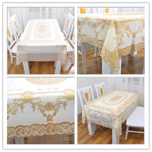 Wholesale Tablecloth Rectangle Hot Family Beautiful Cut Out and PVC Stamping Tablecloth Vinyl Fashion Home Waterproof and High Temperature Resistant
