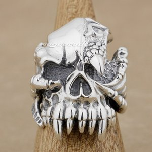 Wholesale sterling silver dragons for sale - Group buy 925 Sterling Silver Dragon Claw Skull Mens Biker Ring M002 US Size