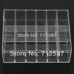Wholesale shipping Clear Acrylic 24 Lipstick Holder Display Stand Cosmetic Organizer Makeup Case # 9014
