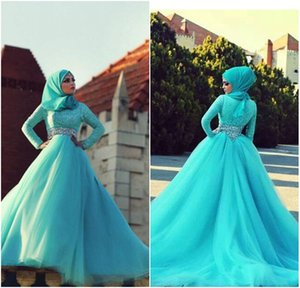 Wholesale Elegant Long Sleeve Lace Crystal Arabic Evening Gowns Turquoise Muslim Evening Dress 2015 Robe De Soiree Musulmane Abendkleider Formal Gown