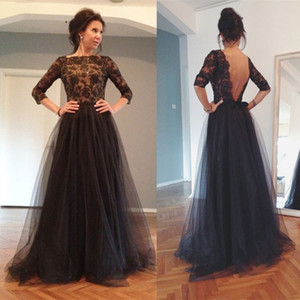 Wholesale mother bride dresses navy petite for sale - Group buy 3 Long Sleeve Lady Formal Lace Evening Party Dresses Black Mother of the Bride Dresses Backless A Line Applique Sequins Prom Dresses