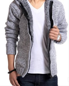 Wholesale Warm Thick Cashmere Men Winter Cardigan zipper Tops Man Casual Hoodies Sweatshirt Knitwear Big size color