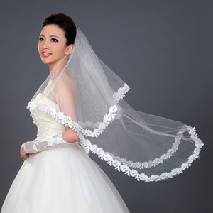 Wholesale 2015 Cheap Bridal Veils For Wedding m One Layer White White Veils with Lace Appliques Tulle Wedding Veil