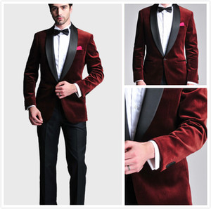 Burgundy Velvet Slim Fit Groom Tuxedos Wedding Suits Custom Made Groomsmen Best Man Prom Suits Black Pants (Jacket+Pants+Bow Tie+Hanky)