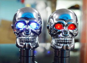 Wholesale Shift Lever Knob Manual Shifter Gear Universal Skull Head LED light Blue Red