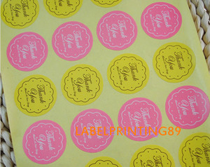 Wholesale 2 cm DIY thank you sticker stock paper round yellow and pink gift seal sticker