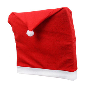Wholesale Christmas Chair Cover Santa Clause Red Hat Restaurant Seat Covers Dinner Chair Back Cap Table Decor Xmas Decorations
