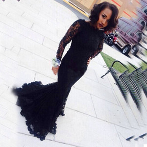 Modest Black Lace Evening Dresses Illusion Long Sleeves Mermaid Prom Gowns Floor Length Formal Wear Wedding Party Guests Dress