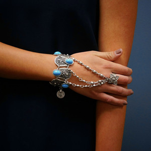 Wholesale Bohemian Boho Retro Silver Plated Inlay Blue Resin Beads Coin Pendant Hand Chain Ring Bracelet For Women