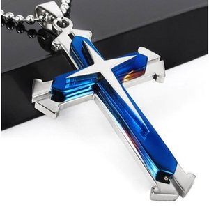 Wholesale Fashion Jesus Piece Cross pendant Christian Jewelry Plated Cross necklace stainless steel necklace Men Women Jewelry