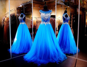 2019 Backless Evening Dresses with Cap Sleeves Illusion Neckline Keyhole A-Line Ball Gowns Blue Prom Dresses with Crystals Pageant Dress on Sale