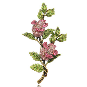 Romantic Rose Flower Brooch Gold Plated Jewelry For Women Emeral Crystal Pin Brooches Fashion Scarf Bijoux Accessories big size 105x56mm