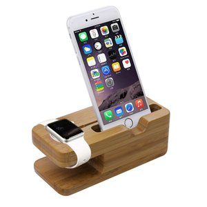Wholesale Free DHL Newest Charging Platform for Apple Watch Stand Station for Apple Watch For iPhone Bamboo Wood cell Phone Holder Stand