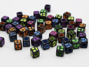 Wholesale Hot Black with Neon Color Smiley Face Cube Spacer beads X6mm DIY Jewelry