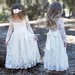 Wholesale 2018 White A Line Designer Lace Flower Girl Dresses Jewel Neck Princess Long Sleeves Kids Girls Communion Party Wears Dresses MC0366
