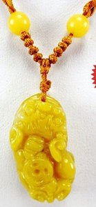Wholesale wonderful natural yellow jade carved Brave troops pendant mm necklace
