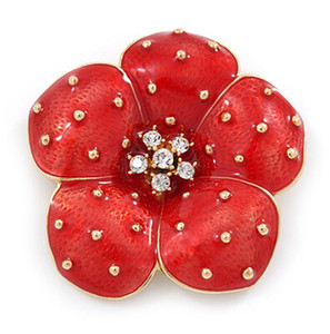 Wholesale gold red flower brooch for sale - Group buy 1 Inch Gold Tone Red Emerald Clear Rhinestone Crystal Diamante P O P P Y Flower Badge Brooch