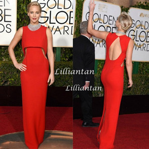 Wholesale 2016 Hot Cheap Jennifer Lawrence Simple Red Carpet Celebrity Dresses Sexy Cutaway Open Back Golden Globe Awards Formal Evening Party Dresses