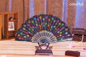 Wholesale folded hand fan spanish for sale - Group buy Plastic Embroidered Sequins Folding Flower Lace Fan Dance Hand Fans Party Wedding Decor Dancing Supplies Spanish Style wen4783
