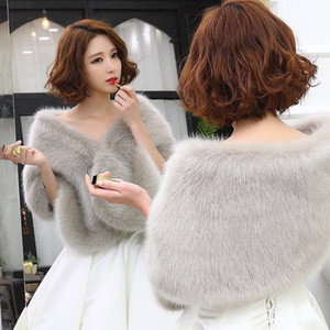 2019 Winter Wedding Coat Bridal Faux Fur Wraps Warm shawls Shrug Outerwear Gray White Red Women Jacket Prom Evening cloak scarf
