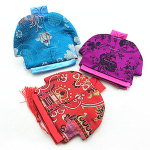 Wholesale Vintage Chinese Clothes Shaped Small Bag Zipper Coin Purse Jewelry Gift Pouches Silk Brocade Craft Packaging Bag