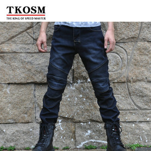 TKOSM NEW Winter Plus Velvet Warm Off-road Outdoor Jeans Motorcycle Riding Pants Waterproof Protecting Knee Locomotive Pants